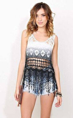 #FashionVault #styles for less #Women #Tops - Check this : Izabel Ombre Crochet Top - - Blue Combo in Size by Styles For Less for $21.99 USD