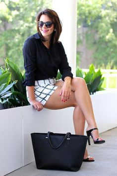 windowpane shorts, black and white outfit ideas,