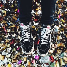 Julia Denby and her Sk8-Hi's at the Love Lock Bridge in Paris, France.
