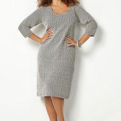 Jacquard Textured Sheath Dress-Plus Size Sheath Dress-Avenue