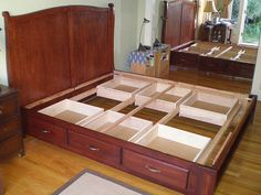Image result for king bed with under storage woodworking plans