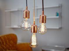 Leuchte Industrial Copper | Kupfer und Steinweiß von Wohnkultur Berndt auf DaWanda.com