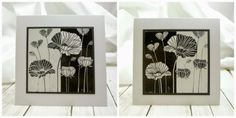 Versamark on black and on white; emboss white on black and black on white; stack then cut in half,; put opposites together Hero Arts, Cardmaking, Gallery Wall, Diy Crafts, Black And White, Emboss, Floral, Stamping, Card Ideas