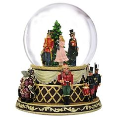 Nutcracker Suite Musical Snow Globe Transport yourself into the magical world of Tchaikovsky's Nutcracker with our beautiful, detailed Nutcracker Musical Snow Globes. An ornately decorated Christmas Tree surrounded by Clara, Drosselmeyer, the Rat King, and a soldier rotate around the inside of the globe to the tune of the Nutcracker Suite.