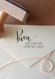 Calligraphy Return Address Stamp -- Mixed Calligraphy and type - Rebel Stout Style off center