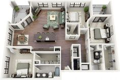 3 bedroom 3d house plans - Google Search