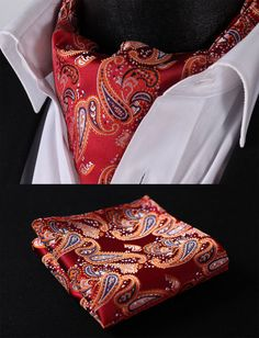 RF413N Orange Red Paisley Silk Cravat Scarves Ascot Tie Hanky Handkerchief Set #SetSense #Ascot
