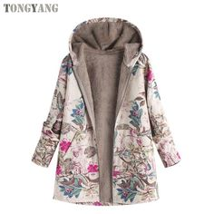 Plus Size Winter Jacket Long Coat Women Fashion 2018 Ukraine Floral Print Hooded Woman Jackets Parka Womens Tops And Blouses Oversize Mantel, Oversized Coat, Winter Jackets Women, Coats For Women, Clothes For Women, Fall Jackets, Moda Floral, Plus Size Coats, Outfits