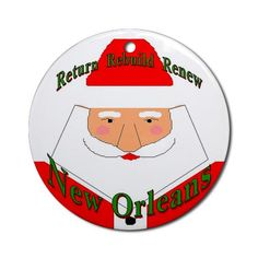 Rebuild New Orleans Santa Ornament Round Christmas Round Ornament by CafePress. Fig Street Studio Christmas Round Ornament Instantly accessorize bare wall-space with our Round Ornament. Makes great room or office accessories, fun favors for birthday parties, wedding or baby shower Ornaments, or adding a unique, special touch to gift-wrapped packages. Comes with its own festiv. Price: $12.50