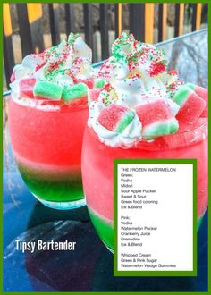 The Frozen Watermelon - Site Title Candy Drinks, Liquor Drinks, Dessert Drinks, Yummy Drinks, Yummy Food, Beverages, Mixed Drinks Alcohol, Alcohol Drink Recipes, Punch Recipes