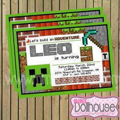 Minecraft Party Invitation Printable Minecraft by MimisDollhouse - Join the hottest new social network for gamers! http://Player.me | Gaming profiles made beautiful