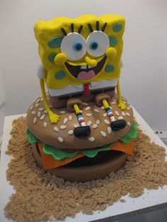 I made Spongebob Squarepants sitting on a Crabby Patty for my neighbour's daughter who turned 4 last summer.