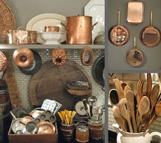 love how Eddie Ross mixes elements in this kitchen: copper pots, pans and molds,wood cutting boards and spoons and ironstone platters and soup tureens and a just a touch of silver