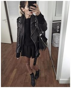 New Style Vestimentaire Femme Soiree Ideas Grunge Fashion, Look Fashion, Trendy Fashion, Fashion Outfits, Trendy Style, Rock Chic, Looks Total Black, Spring Summer Fashion, Autumn Winter Fashion