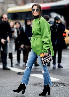 The Best NYFW Fall 2017 Street Style - Fall & Winter Fashion Outfit Ideas   New York Fashion Week F/W 17   raw denim + green coat and ankle boots