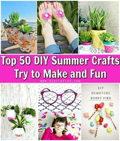 Top 50 DIY Summer Crafts Try to Make and Fun - DIY Crafts diy craft projects - Diy Fun And Easy Diys, Easy Crafts For Teens, Fun Easy Crafts, Summer Crafts For Kids, Diy For Girls, Summer Fun, Crafts Cheap, Diy Crafts For Your Room, Diy Crafts To Do