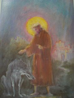 Saint Francis and the Wolf of Gubbio by David Newbatt by Bad Sneakers . Blackboard Drawing, Chalkboard Drawings, Chalk Drawings, Chalkboard Art, Francis Of Assisi, St Francis, Shading Drawing, Painting & Drawing, Teaching Second Grade