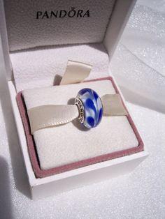 Pandora Charm Blue Swirly Swirl Authentic Murano by JEWELSELAGANT, $25.00