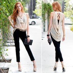 DailyLook 'In the Nude' outfit - 06/09/2012 - 'This outfit proves that getting dressed can be sexier than getting undressed. A nude top combines the perfect amount of sexy and classy. We created a polished look by pairing the top with black skinnies and metallic sandals. We adorned the outfit with a seductive snake cuff and other tantalizing jewels. '