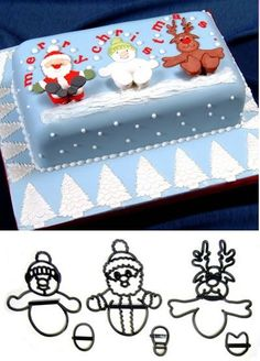 Patchwork cutters by Marion Frost - Christmas novelty set This novelty set of Patchwork cutters is great for creating fun Christmas cakes that the Mini Christmas Cakes, Christmas Cake Designs, Christmas Cake Decorations, Holiday Cakes, Christmas Goodies, Christmas Baking, Xmas Cakes, Santa Cake, Snowman Cake