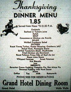 Vintage Thanksgiving Menu: Grand Hotel, Washington, 1949