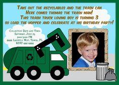 Rumble crash dump smash were taking out the trash a garbage garbage truck trash truck birthday invitation 2000 via etsy filmwisefo