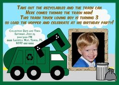 Bday invite garbage truck birthday pinterest garbage truck and garbage truck trash truck birthday invitation 2000 via etsy filmwisefo Image collections