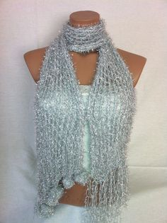 Silver colored Shawl Scarf by Arzus on Etsy, $22.90