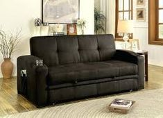 Furniture of America Mavis Collection 75 Inch Futon Sofa with Tufted Cushion, Pull-out Underseat Base, Alternate Expansive Bed and Fabric Upholstery in Dark Brown Futon Sofa Bed, Futon Mattress, Sleeper Sofas, Bed Extension, Pull Out Couch, Large Beds, Sofa Frame, Transitional House, Discount Furniture