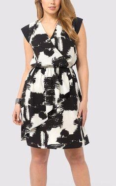 Triste Black & White Printed Cascade Women Dress Plus Size 32 5X Faux-Wrap Dress #Triste #FauxWrapDress #Casual