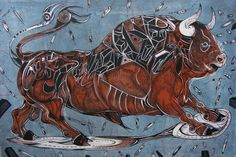 Bull paintings, Space kowboy by Marko Gavrilovic