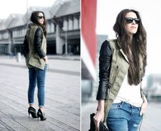 Trendy Leather Sleeve Jackets..must find