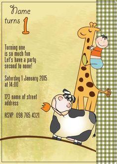BFY_002 Invite, Invitations, Turning One, Baby First Birthday, First Birthdays, Rsvp, Monkey, Party, Fun