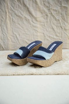 Cork Wedges, Denim Patchwork, Platform Wedge, Slide Sandals, Baby Blue, Blue Denim, Steve Madden, Indigo, Shoe Boots