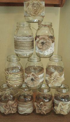 Set of 10 Mason Jar Sleeves, Burlap Wedding Decorations, Rustic Wedding Centerpieces, Burlap and Lace Wedding Jars by RusticWithElegance on Etsy www.etsy.com/...
