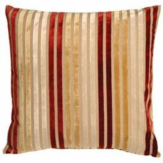 Superieur Pillow Decor   Velvet Multi Stripes Red And Gold 20x20 Throw Pillow 1 Of 2
