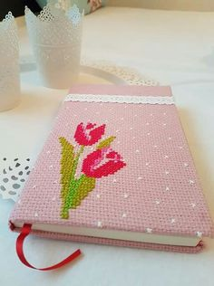 This Pin was discovered by Gül Wool Embroidery, Modern Embroidery, Cross Stitch Bookmarks, Cross Stitches, Paper, Cards, Journal Ideas, Addiction, Books