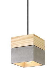 Suspension béton/bois | Déco Luminaire - Luminaire Suspendu | Luminaire Extérieur | Lampe de Table