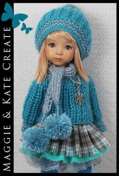 *Turquoise Gray* Outfit for Little Darlings Effner 13  by Maggie & Kate Create