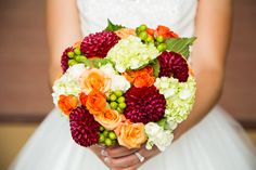 Love the mix of orange, deep red and green! Photo By Nicole Siembor Photography Fall Wedding Colors, Wedding Bouquets, Raspberry, Green Photo, Wedding Photography, Portrait, Flowers, Deep, Orange