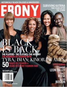 Tyra Banks, Iman, Alek Wek, and Kimora Lee Simmons Cover Ebony Magazine September 2007 Vibe Magazine, Jet Magazine, Essence Magazine, Black Magazine, Ebony Magazine Cover, Magazine Covers, African American Models, American Fashion, American History