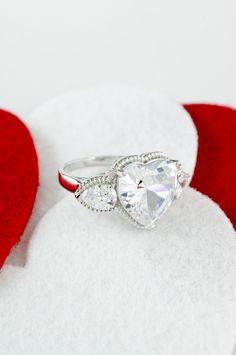Bella Luce  15.05ctw Heart Shape & Pear Shape Rhodium Plated Sterling Silver Ring