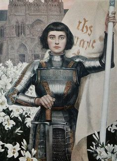 Joan of Arc - Led an army, saved a people, died stoically, sainted rightfully. ┆ Ste Jeanne d Arc ┆ More christians pins in my boards Joan D Arc, Saint Joan Of Arc, St Joan, Jeanne D'arc, Women In History, Art History, History Icon, Jean Leon, Pre Raphaelite