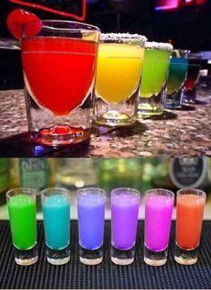 Colors of the Rainbow Drinks Rainbow Drinks, Rainbow Food, Under The Rainbow, Taste The Rainbow, Best Party Food, Yummy Drinks, Refreshing Drinks, Rainbow Wedding, Rainbow Aesthetic
