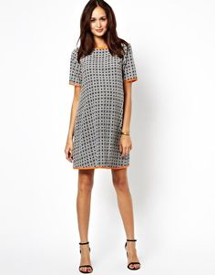 fcaa03dbcb99d ASOS Maternity Exclusive Shift Dress in Geo Print With Contrast Piping Asos  Maternity, Maternity Gowns