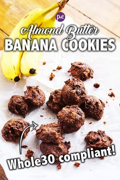Almond Butter Banana Cookies are grain-free, gluten-free, dairy-free and sugar-free, making them compliant. These are a great healthy snack or dessert option for both adults and kids! Whole 30 Dessert, Whole 30 Snacks, Whole 30 Recipes, Quick Healthy Desserts, Cookies Healthy, Healthy Snacks, Healthy Nutrition, Snacks Kids, Protein Cookies