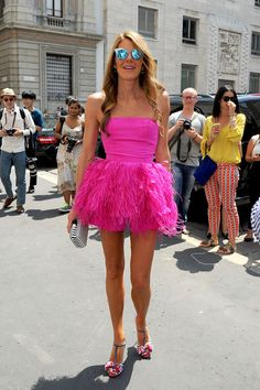 An ode to Anna Dello Russo's Spectacularly Quirky Style | Diamond mirrored shades a magenta tutu dress steal the show