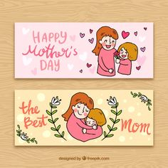 Pretty banners with hand-drawn woman and her daughter Free Vector