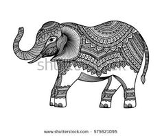 Indian elephant. Hand drawn indian elephant . Vector illustration. eps10
