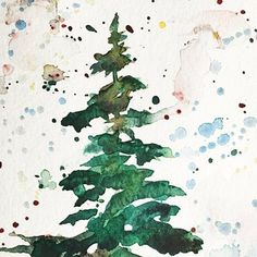 You can paint this beautiful watercolor Christmas tree card in less than 5…
